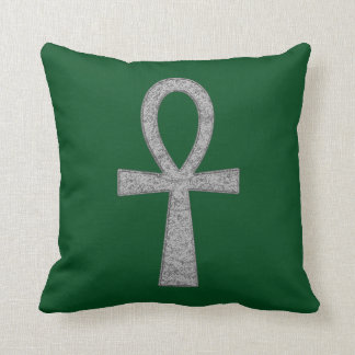 Silver Ankh Throw Pillow