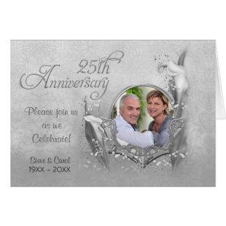 Silver Anniversary Calla Photo Invitation