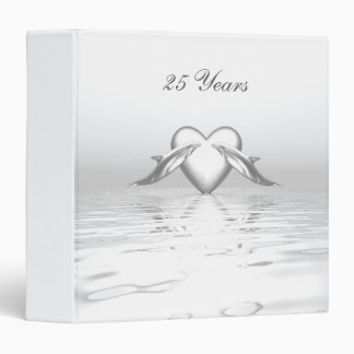 Silver Anniversary Dolphins and Heart Binder