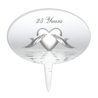 Silver Anniversary Dolphins and Heart Cake Topper