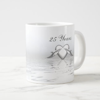Silver Anniversary Dolphins and Heart Giant Coffee Mug