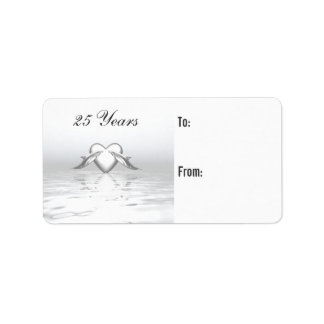 Silver Anniversary Dolphins and Heart Gift Tag