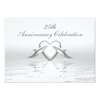 Silver Anniversary Dolphins and Heart 5x7 Paper Invitation Card