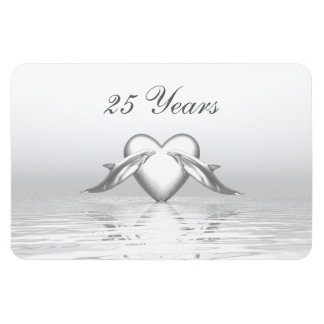 Silver Anniversary Dolphins and Heart Magnet