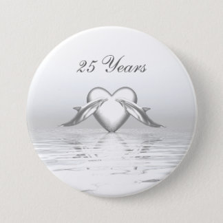 Silver Anniversary Dolphins and Heart Pinback Button