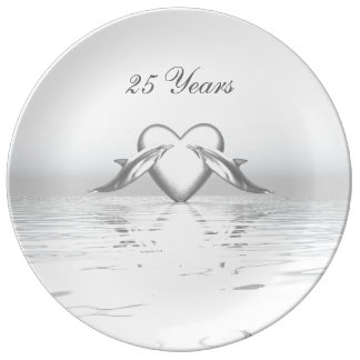 Silver Anniversary Dolphins and Heart Plate