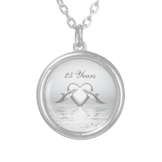 Silver Anniversary Dolphins and Heart Silver Plated Necklace