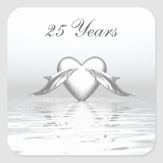 Silver Anniversary Dolphins and Heart Square Sticker