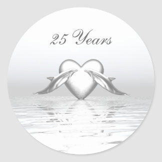 Silver Anniversary Dolphins and Heart Classic Round Sticker