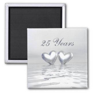 Silver Anniversary Hearts 2 Inch Square Magnet