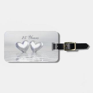 Silver Anniversary Hearts Bag Tag
