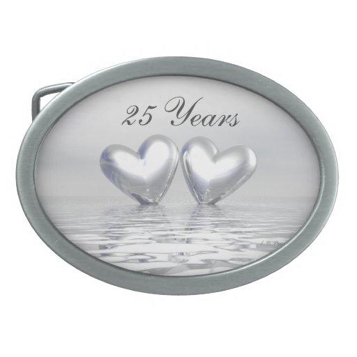 Silver Anniversary Hearts Belt Buckle