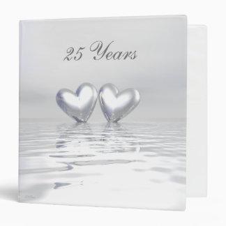 Silver Anniversary Hearts 3 Ring Binder