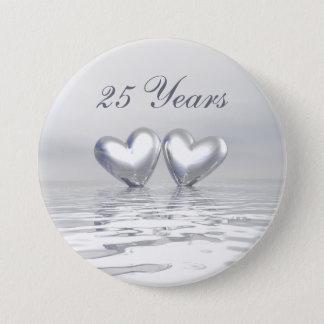 Silver Anniversary Hearts Button