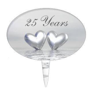 Silver Anniversary Hearts Cake Topper