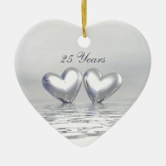 Silver Anniversary Hearts Ceramic Ornament