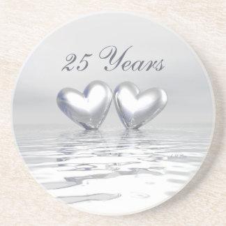 Silver Anniversary Hearts Beverage Coaster