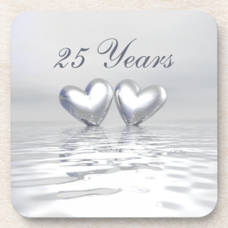 Silver Anniversary Hearts Coaster