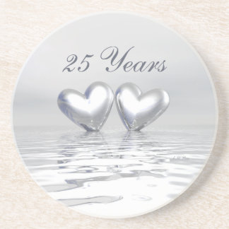 Silver Anniversary Hearts Drink Coaster