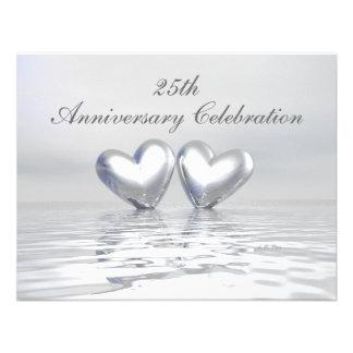 Silver Anniversary Hearts Custom Invite