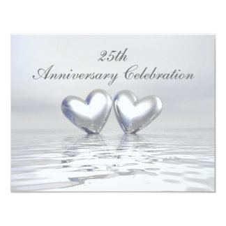 """Silver Anniversary Hearts 4.25"""" X 5.5"""" Invitation Card"""