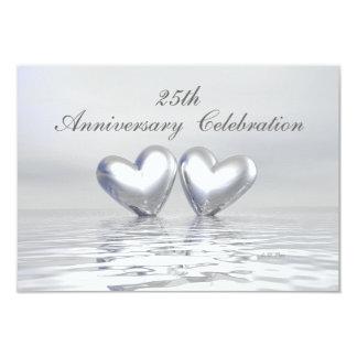 Silver Anniversary Hearts 3.5x5 Paper Invitation Card