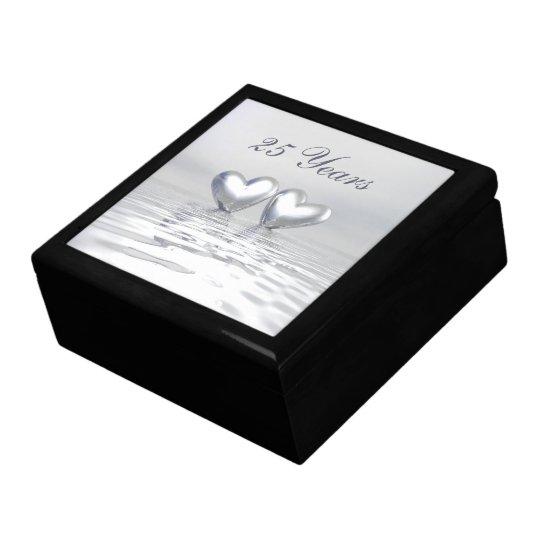 Silver Anniversary Hearts Jewelry Box