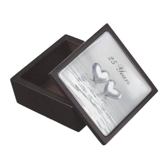 Silver Anniversary Hearts Keepsake Box
