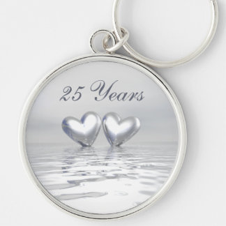Silver Anniversary Hearts Silver-Colored Round Keychain