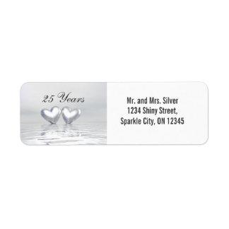 Silver Anniversary Hearts Label