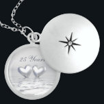 """Silver Anniversary Hearts Locket Necklace<br><div class=""""desc"""">For all of your 25th anniversary needs. A silver colored 3d scene with 2 silver hearts floating on water. Customizable text says &quot;25 Years&quot;.</div>"""