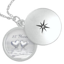 Silver Anniversary Hearts Locket Necklace