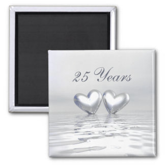 Silver Anniversary Hearts Magnet