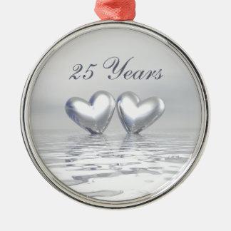 Silver Anniversary Hearts Metal Ornament