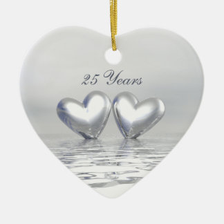 Silver Anniversary Hearts Double-Sided Heart Ceramic Christmas Ornament