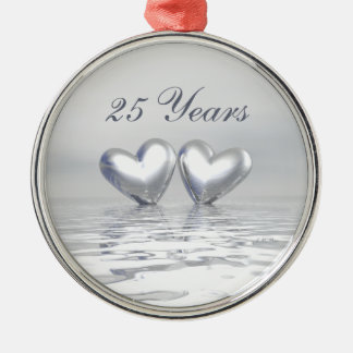Silver Anniversary Hearts Round Metal Christmas Ornament