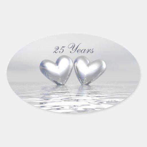 Silver Anniversary Hearts Oval Sticker