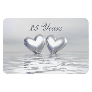 Silver Anniversary Hearts Rectangle Magnet