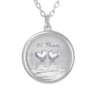 Silver Anniversary Hearts Round Pendant Necklace