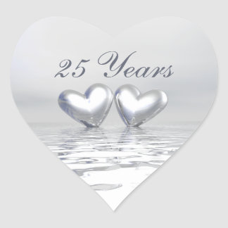 Silver Anniversary Hearts Heart Stickers