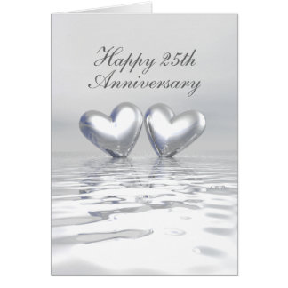 Silver Anniversary Hearts (Tall) Greeting Card