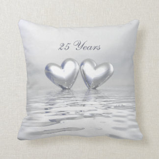Silver Anniversary Hearts Throw Pillow