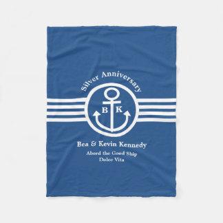 Silver Anniversary Nautical Yacht Owner's Gift Fleece Blanket