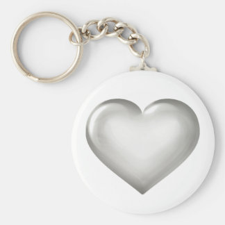 Silver Anniversary - Silver Glass Heart Basic Round Button Keychain