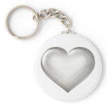 Silver Anniversary - Silver Glass Heart Keychain