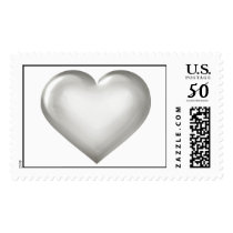 Silver Anniversary  - Silver Glass Heart Postage