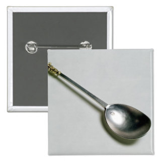 Silver apostle spoon with gold seal top, 1668 pinback button