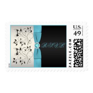 Silver, Aqua, and Black Floral Wedding Postage