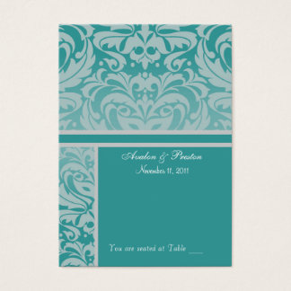 Silver & Aqua Damask  Placecard Business Card