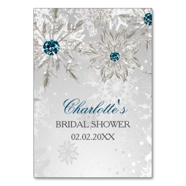 silver aqua snowflakes bridal shower bingo cards